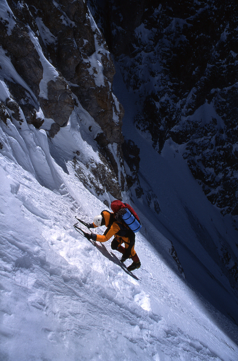 Near the top of the immense first couloir.