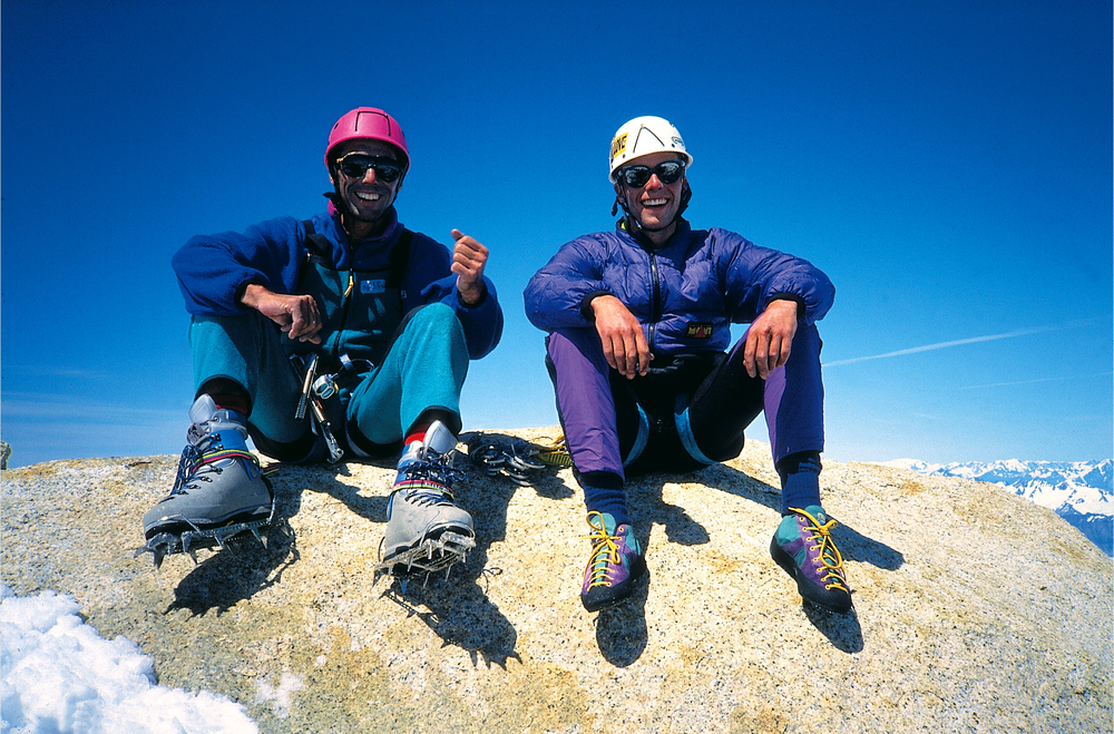 Happy to be on the summit after two bivvies with no gear on the way up, 1.30pm on New Year's Day, 1994.