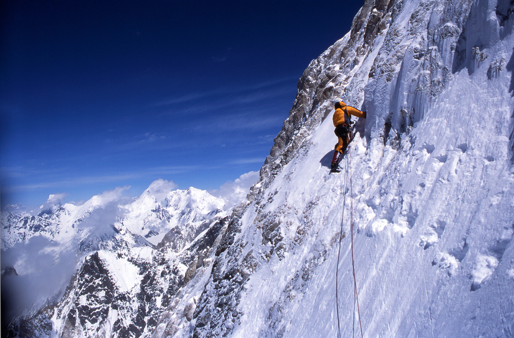 Looking for a way through on the west face.