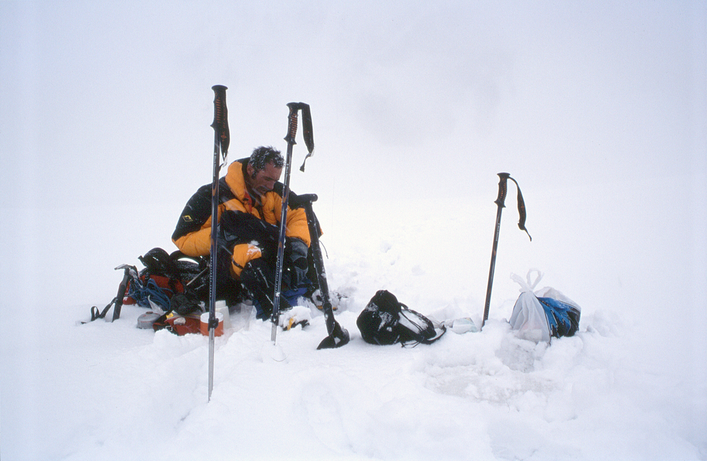 In the Western Cwm after the epic and final retreat off GIV's northwest ridge, 2003.