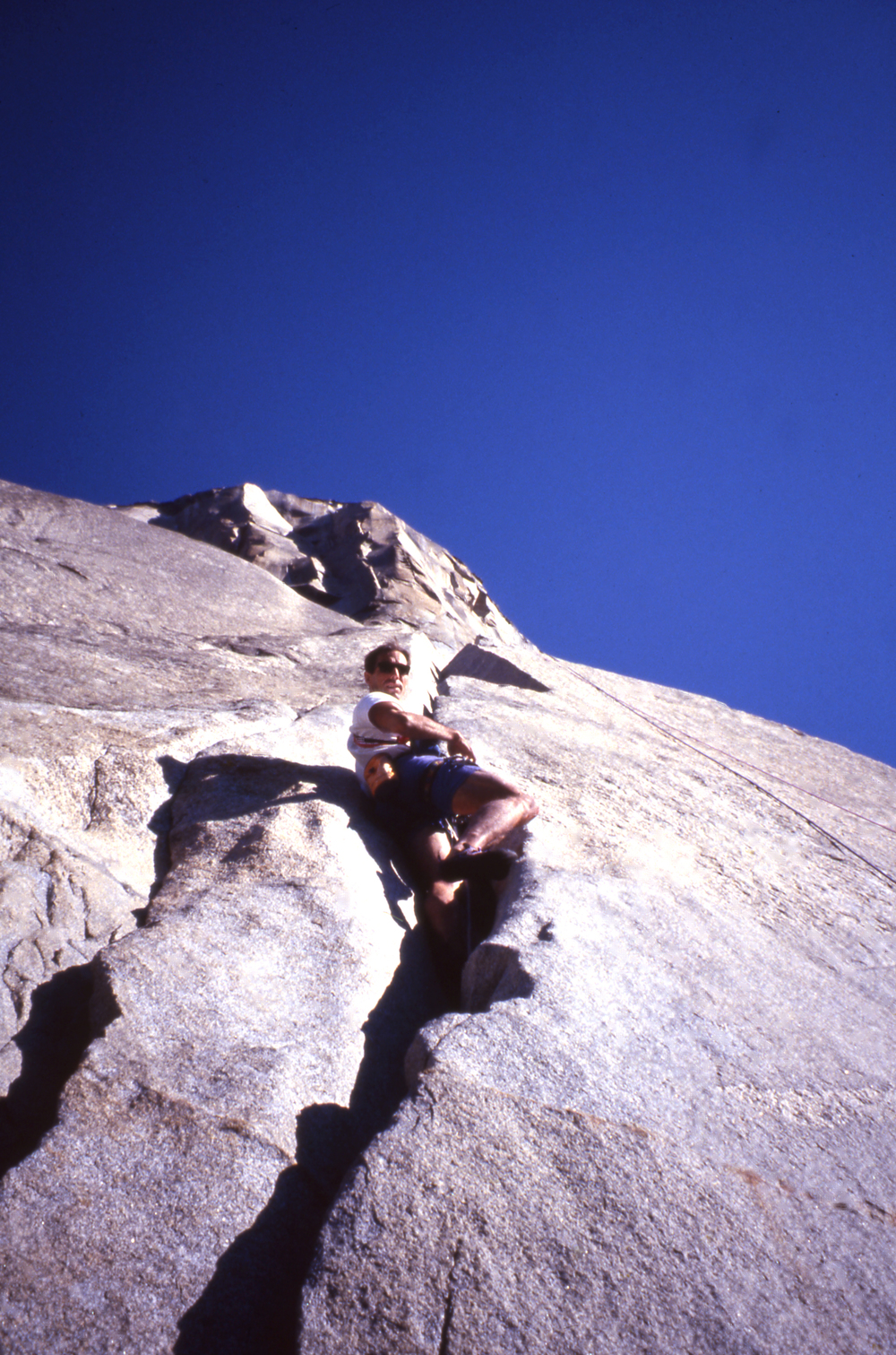 Under the California sun: Athol climbing the Stoveleg pitches of  The Nose ,  El Capitan, during a 15 hour ascent in 1994.