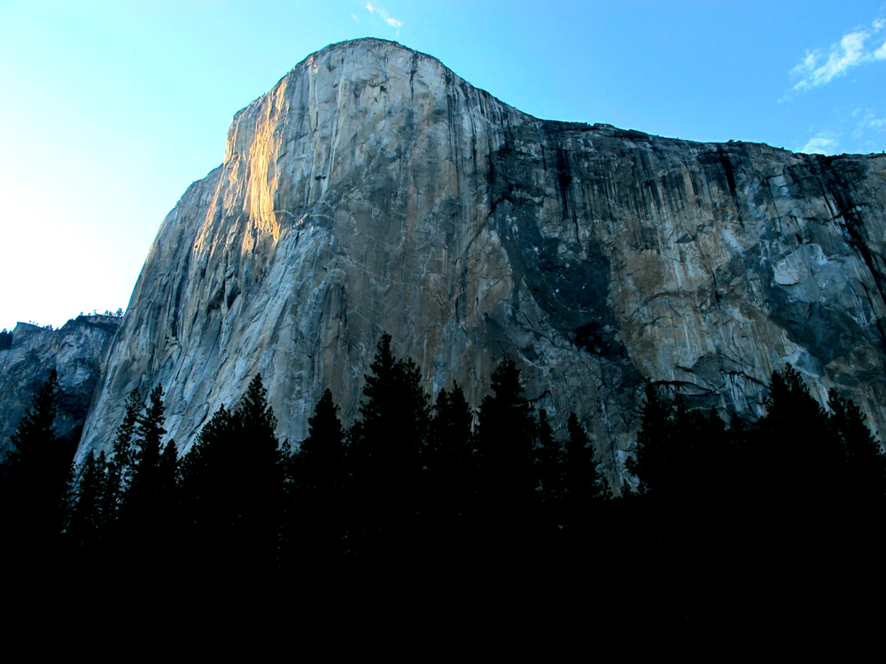 El Capitan, clearly showing  T  he Nose  route (the main prow).