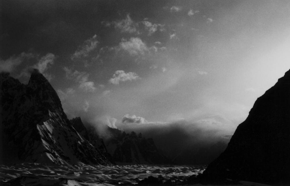 Storm moving up the Baltoro glacier toward Concordia.