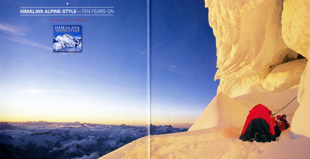 This photo of Athol Whimp at our ca. 6750 meter tent site on Jannu's Wall of Shadows appeared in  Alpinist  11 (Spring 2005), as part of a retrospective article by Stephen Venables on his and Andy Fanshawe's book  Himalaya Alpine Style , first published in 1996.