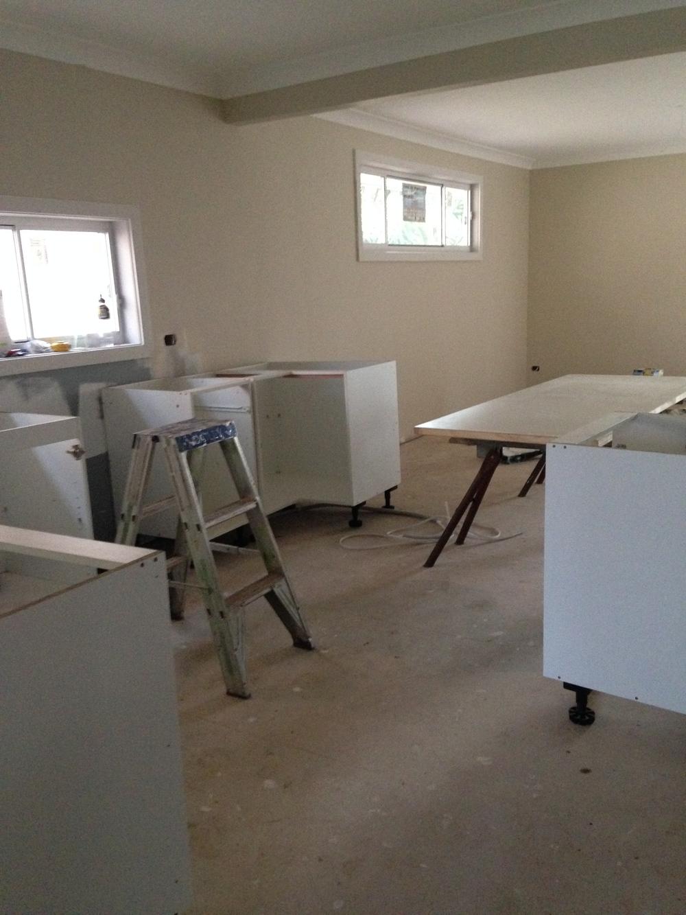 Ceilings are painted, walls underway