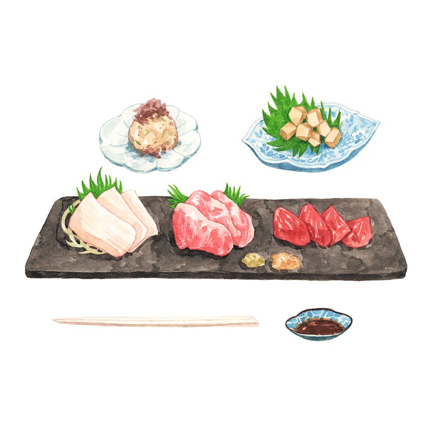 Justine-Wong-Illustration-21-Days-in-Japan-Basashi-Horse-Sashimi.jpg