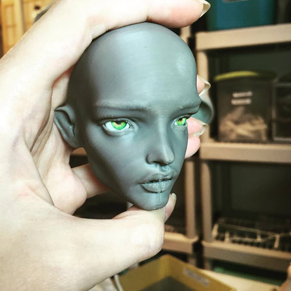 "Lovely grey! My new head (AKA ""mold"" in BJD world) for my #PashaPasha doll."