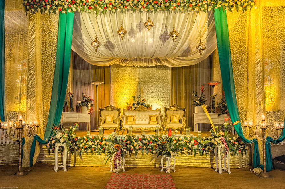 The main stage where the bride and groom would sit most of the time in that evening to receive blessings and take photos with guests.