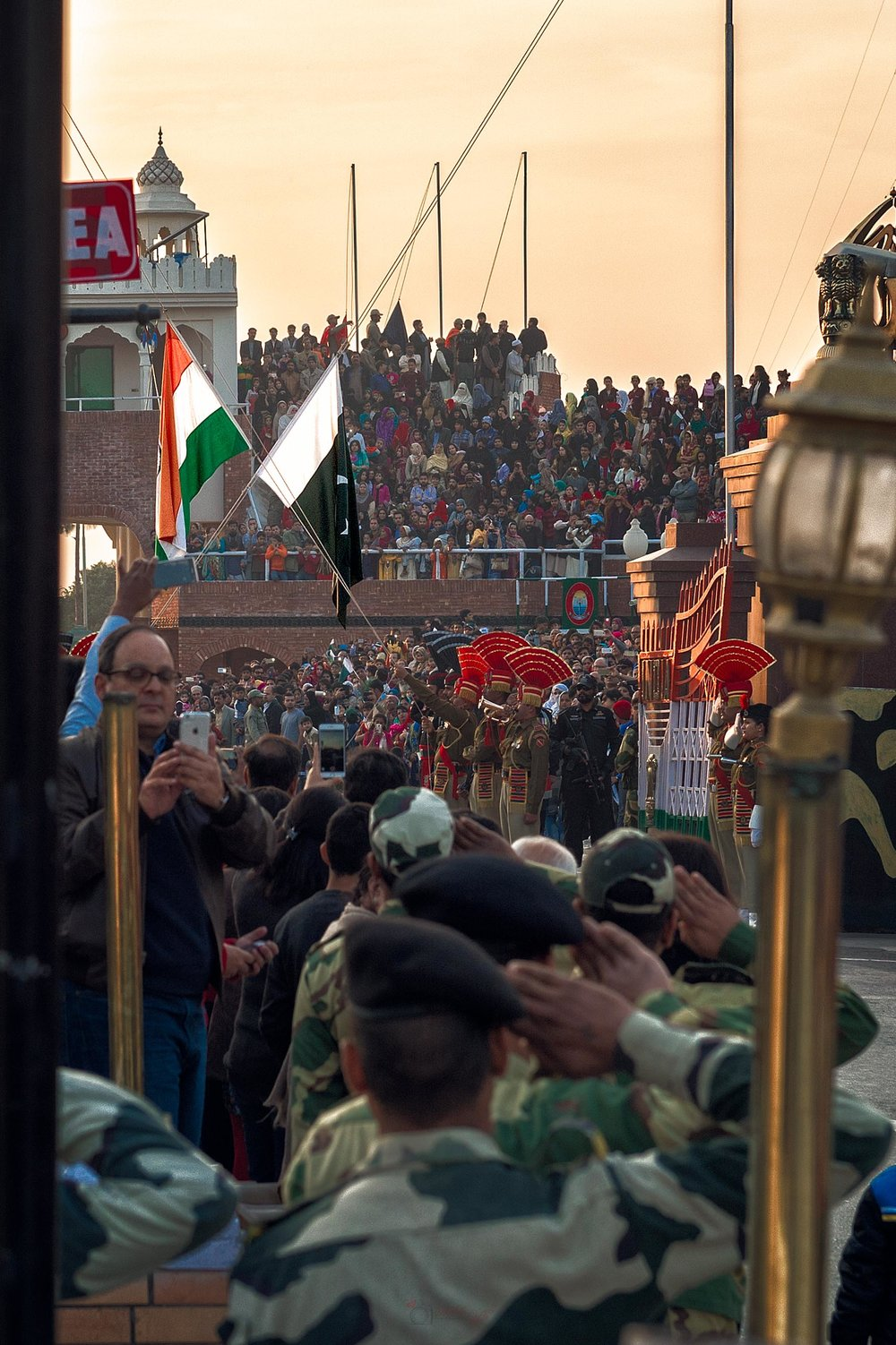 The Wagah (Wagha) Border Ceremony is basically a flag lowering ceremony which is observed by both countries daily.