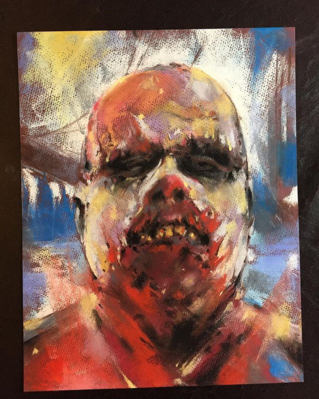 Cleaning the studio and trying to pawn off some art that's been lying around too long. This creep is up for grabs. 11x14, Pastel on Paper $100. Email me ryanspahrtbs@gmail.com #summerblowoutsale #moretofollow #boatzombie #fulci #zombi2