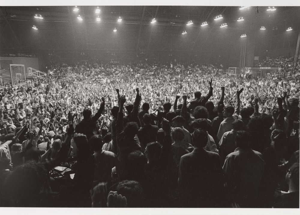 Student mass meeting in Barton Hall, Cornell University (1969)