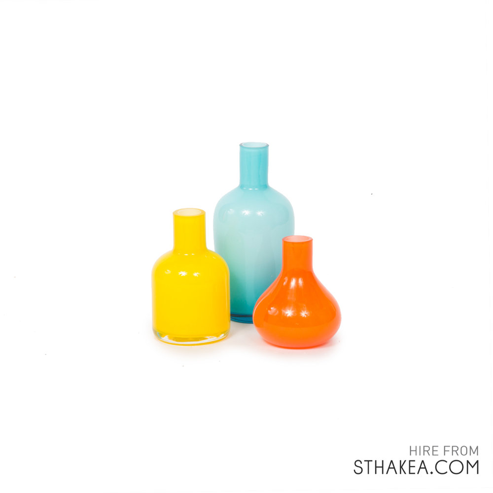 St Hakea Melbourne Hire Coloured Bud Vases.jpg