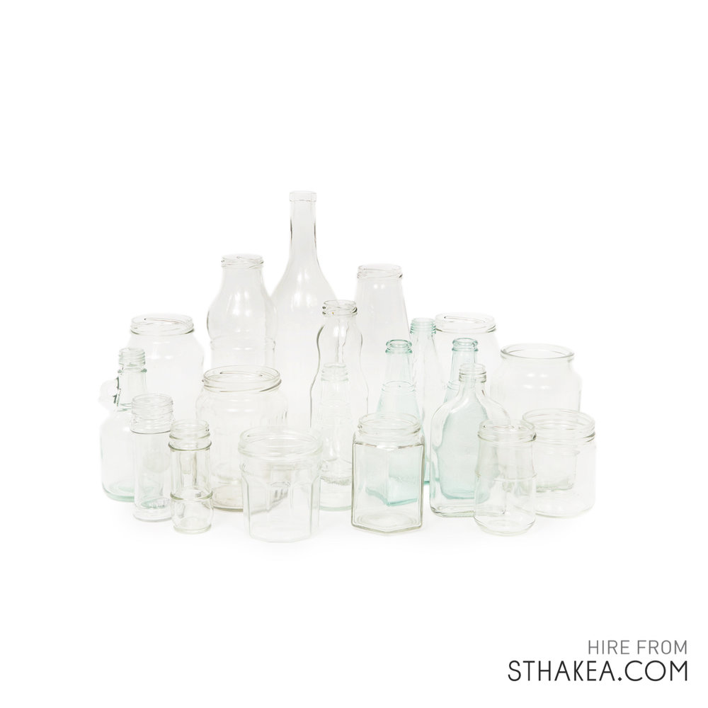 St Hakea Melbourne Hire Clear Glass jars bottles.jpg