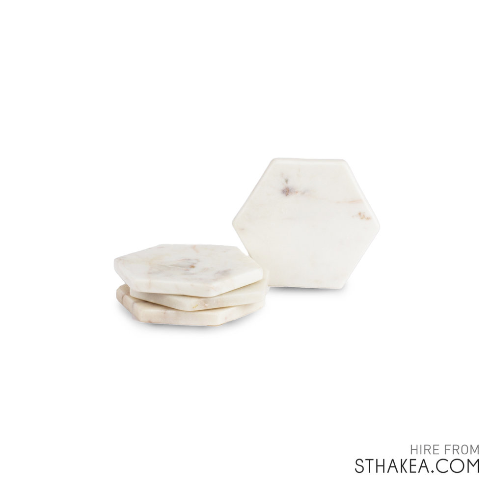 St Hakea Melbourne Event Hire Marble Hexagon Coasters.jpg
