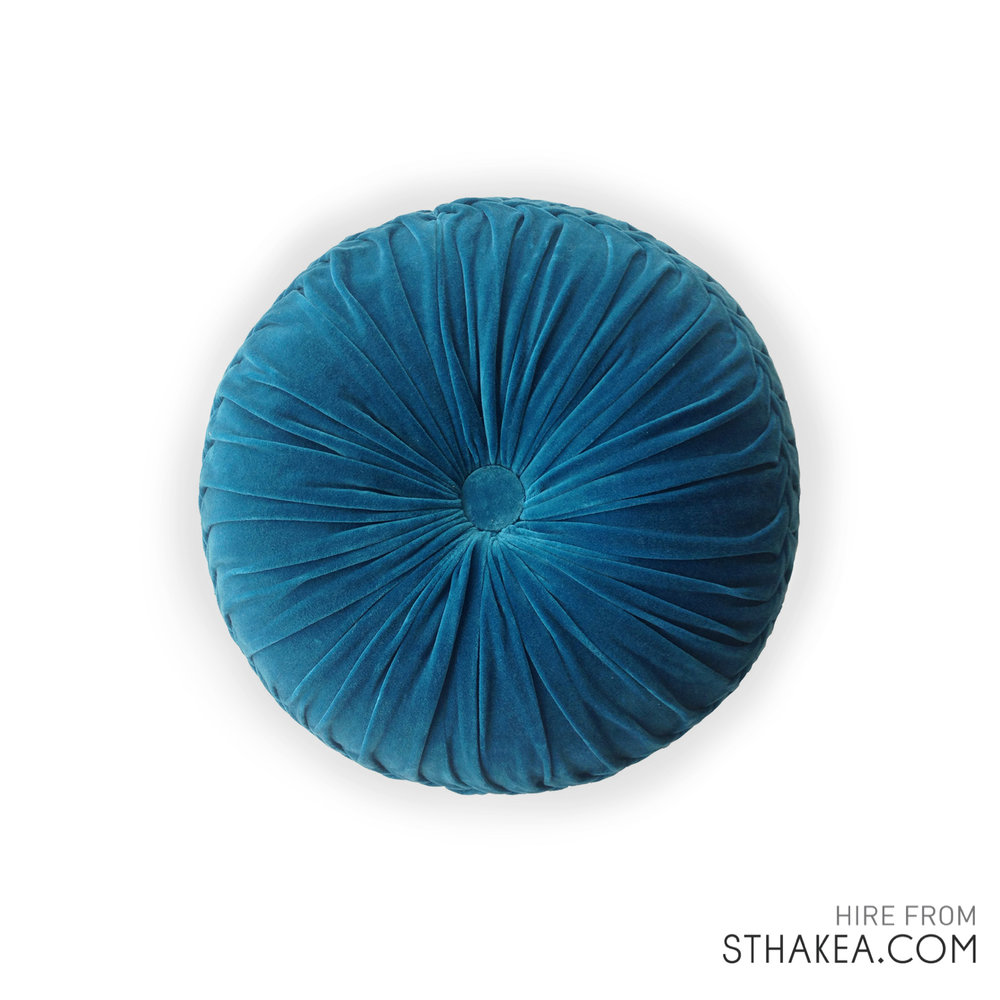 St Hakea Melbourne Event Hire Family Lovetree Blue Velvet Round Cushion.jpg