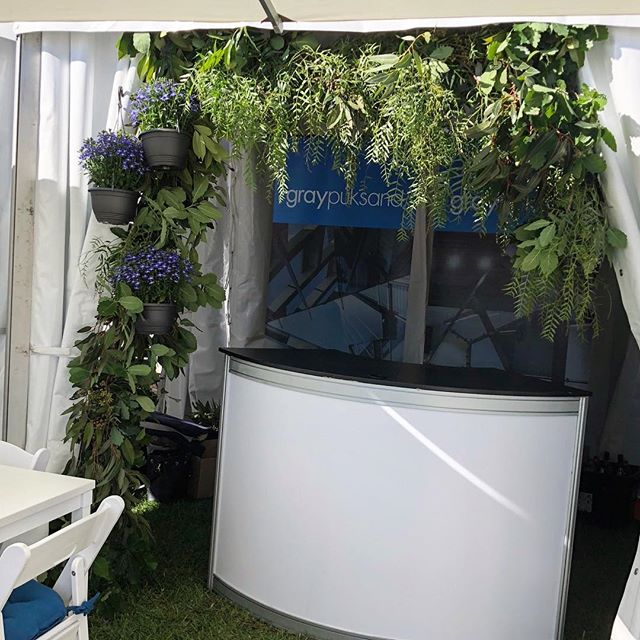 Lucious greens & fresh blues to frame @graypuksand's bar at @polointhecity today. What a day for it - thank you Summer!