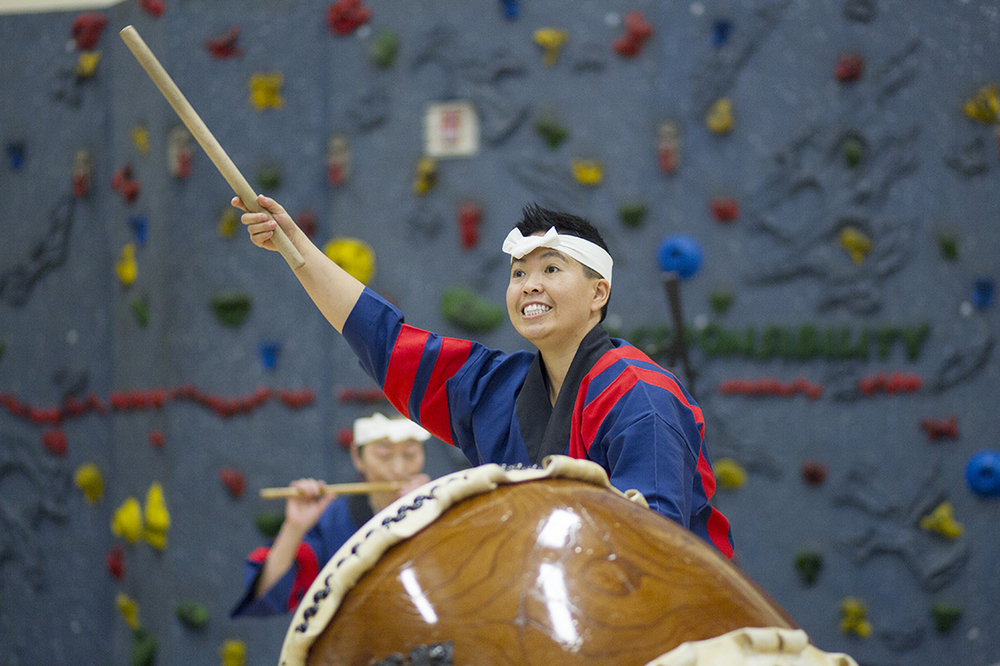 Kristy Oshiro, an 8-year veteran with New York City based Taikoza, performs Monday January 25, 2016 at Hillcrest Elementary School. The group, specializing in Japanese Taiko drumming is visiting various schools around Campbell County this week before a public performance at 7 p.m. Wednesday at the Heritage Center Theater.