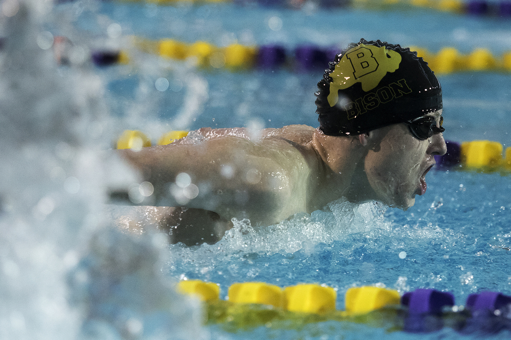 Buffalo swimmer Ian Cohoon swims in the second heat of the 100-yard butterfly Thursday afternoon at the Campbell County Aquatic Center in Gillette. Cohoon came in fourth in his heat with a time of 1:02.3.