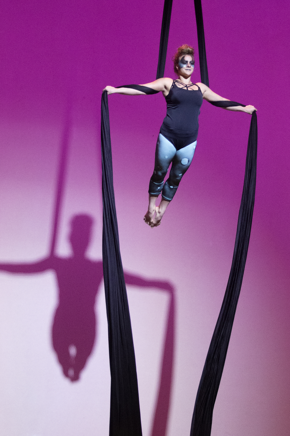 "Marla Brooks performs an aerial dance routine on silks during Saturday's Gillette's Got Talent competition at the Cam-plex Heritage Center. Brooks, along with her sister Beaux Brooks and fellow dancer Aubrey Garnica danced to a cover of Taylor Swift's ""Blank Space."""