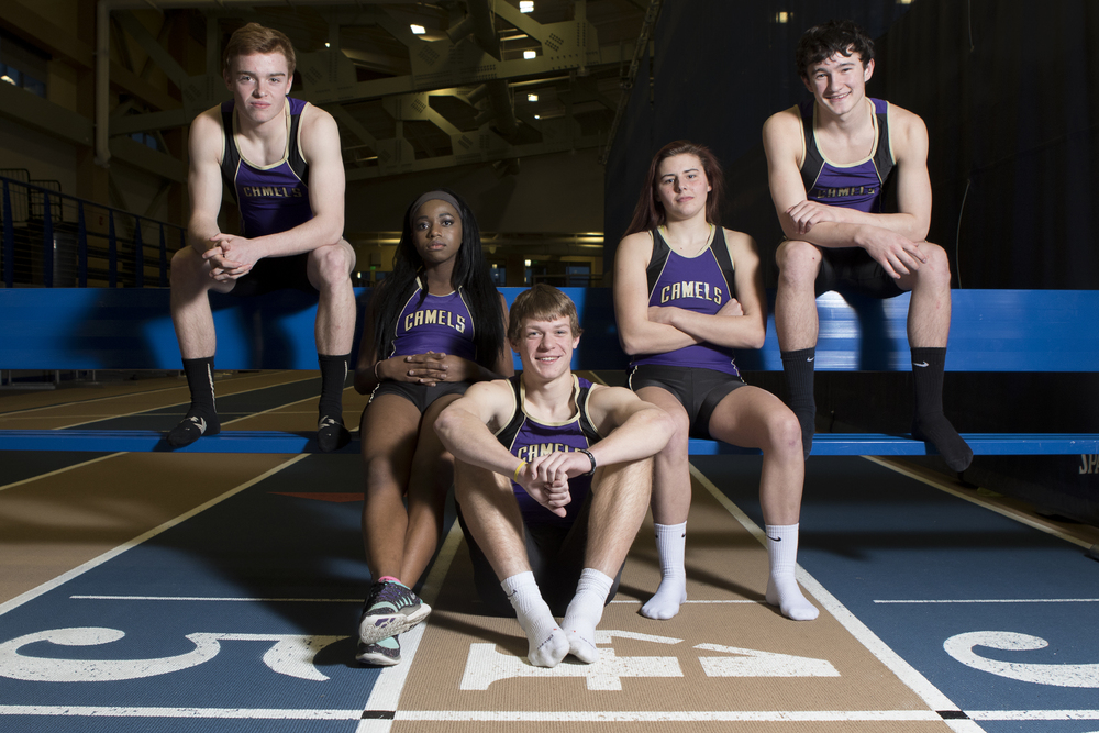 The Gillette Camels track team including, from left, Dillon Buckmeier, Ruth Sifuma, Logan Myers, Ashlyn Erisman and Colter Fuller, are comfortable going into the state indoor meet this weekend, held on their home track at the Recreation Center Field House.