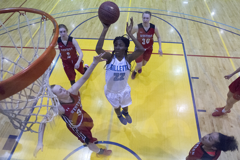 Gillette College guard Nakedra Burke goes up for a shot Thursday night during the second half of the Pronghorns 67-61 win over the Western Wyoming Mustangs in the Region IX tournament at CCHS South Campus. The Pronghorns will move on to face McCook Community College in the semi-finals Friday night at 7 p.m.