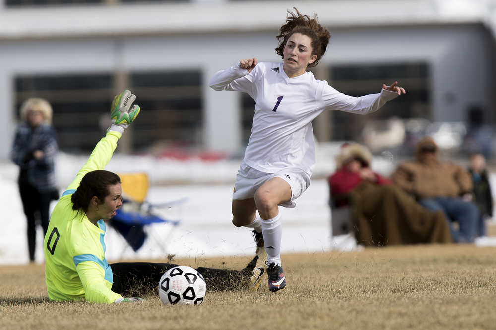 Gillette's Kennedy Schomer loses the ball in a challenge with Buffalo keeper Maddy Killian Thursday afternoon during the Camels' 10-0 win over the Bison at CCHS South Campus.