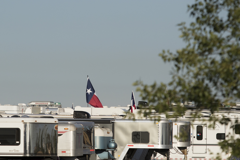 A Texas flag flies above a sea of RVs on Sunday morning before the start of the National High School Finals Rodeo.