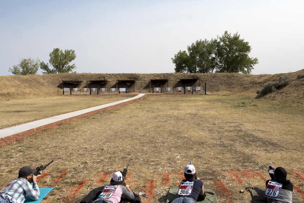 NHSFR contestants take aim in the prone position shooting competition Tuesday morning at the Gillette Gun Club during the rifle shooting event for the 2016 National High School Finals Rodeo.