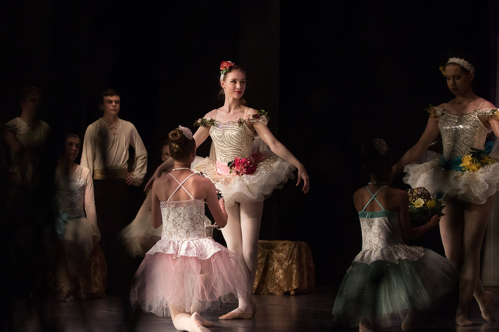 Claire Thomas as the Fairy of the Crystal Fountain performs during dress rehearsal for the Dance Arts Gillette performance of the classical 19th century ballet Sleeping Beauty.