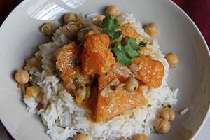 Curry de courge et pois chiches au lait de coco