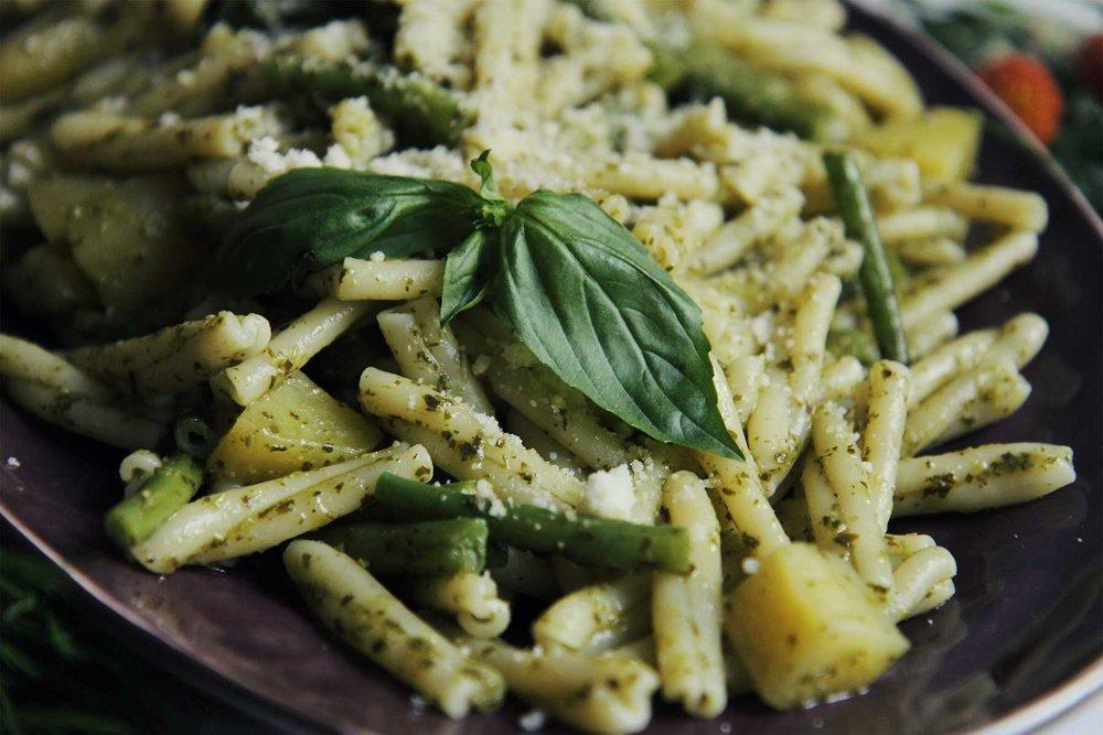 Pasta pesto pommes de terre haricots verts ©theflyingflour