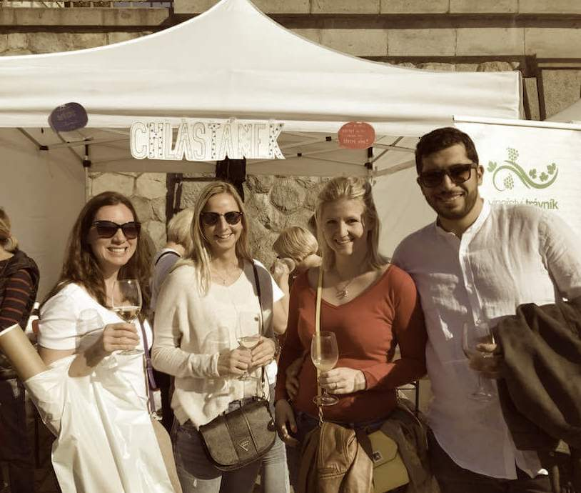 Rose, Petule, Monika, and Pierluigi at a wine festival in Prague