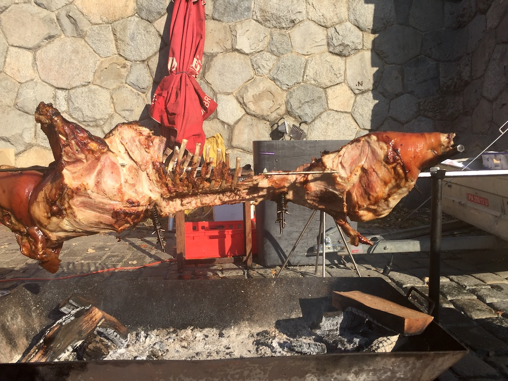 Pig on a spit at a wine festival in Prague | Photo credit: Rose Spaziani