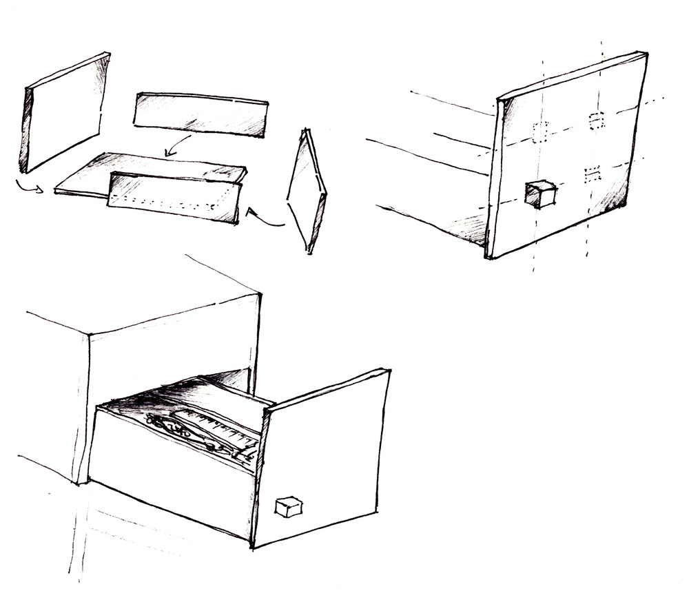 Solo Cube tray / handle sketch
