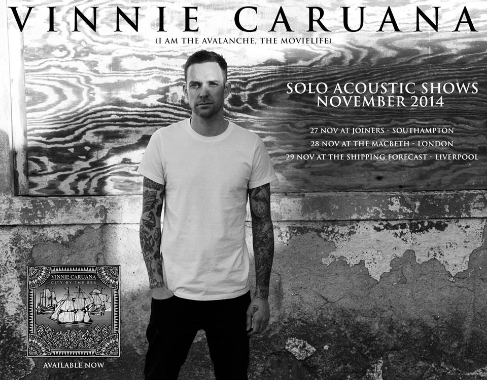 So our good friend  Vinnie Caruana  is gonna be back over in Blighty in November and we couldn't help but get him on again. If you've ever been to a Vinnie show, then you'll know how much fun they are. Songs from  The Movielife  ,  I Am the Avalanche  and Vinnies solo material, all followed by the  What Ever Happened To P-Ro ck?   DJ's, who'll keep you dancing till the early hours.  Support on the night comes from:  Great Cynics (acoustic) + some special guests.  Tickets are only £7 from: http://prock.fatsoma.com/events/112475/