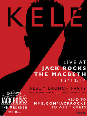 Kele will play an exclusive album launch party at Jack Rocks The Macbeth in London next month (October 13).    Jack Daniel's, in association with NME and Spotify, is taking over Hoxton music venue The Macbeth to create a new hub for shows from bands big and small, as well as workshops and Q&As.    The show will see Kele perform new album 'Trick' live in front of just 250 fans, with the new album out on the same day.     Read more at http://www.nme.com/win/jackrocks#7iiuqdLuHeK7PVLX.99