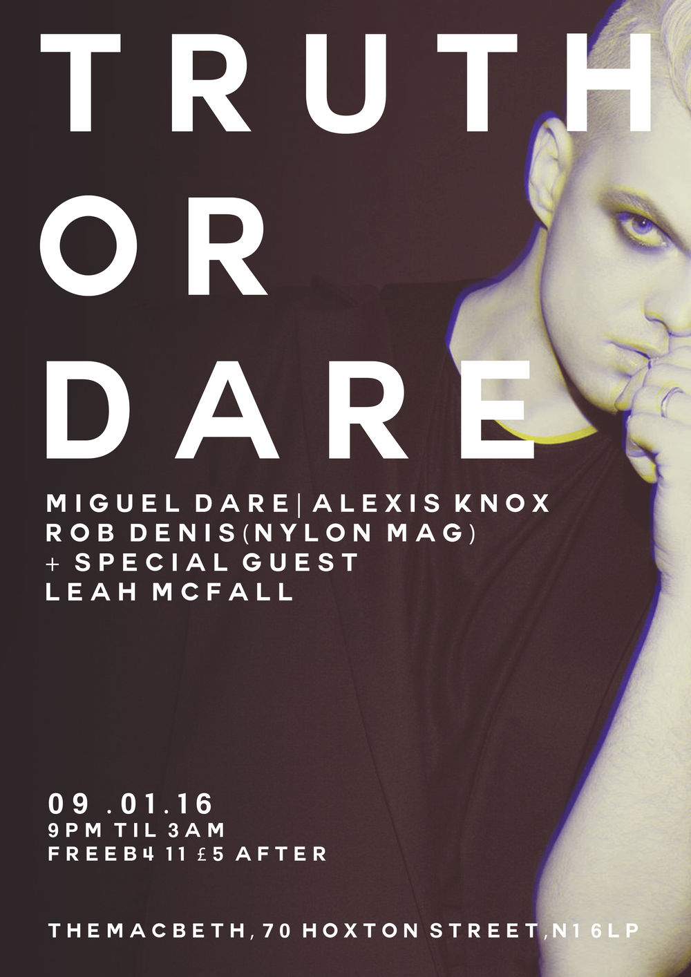 Miguel Dare presents TRUTH OR DARE- his first official London club nite. Expect no hold-barred trap RNB & hip-hop. WEAR WHAT YOU DARE DRESS TO SWEAT!