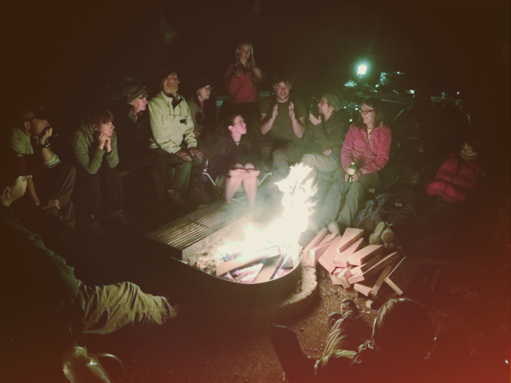 Interdisciplinary Alliance of Ecological Aesthetics (IAEA) around the fire discussing issues of the day on the Kaibab Plateau, Arizona during our first meeting