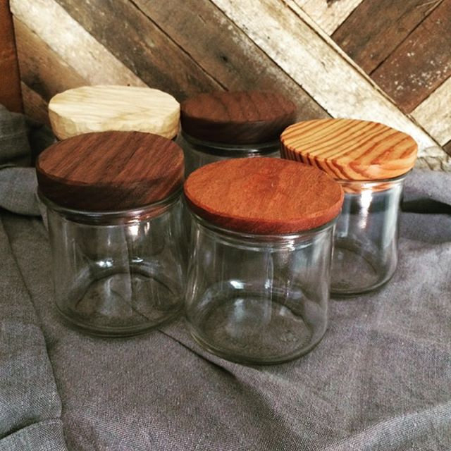 These little yogurt jars were way too cute for the recycling bin, so I made them some wooden tops and let them stick around.