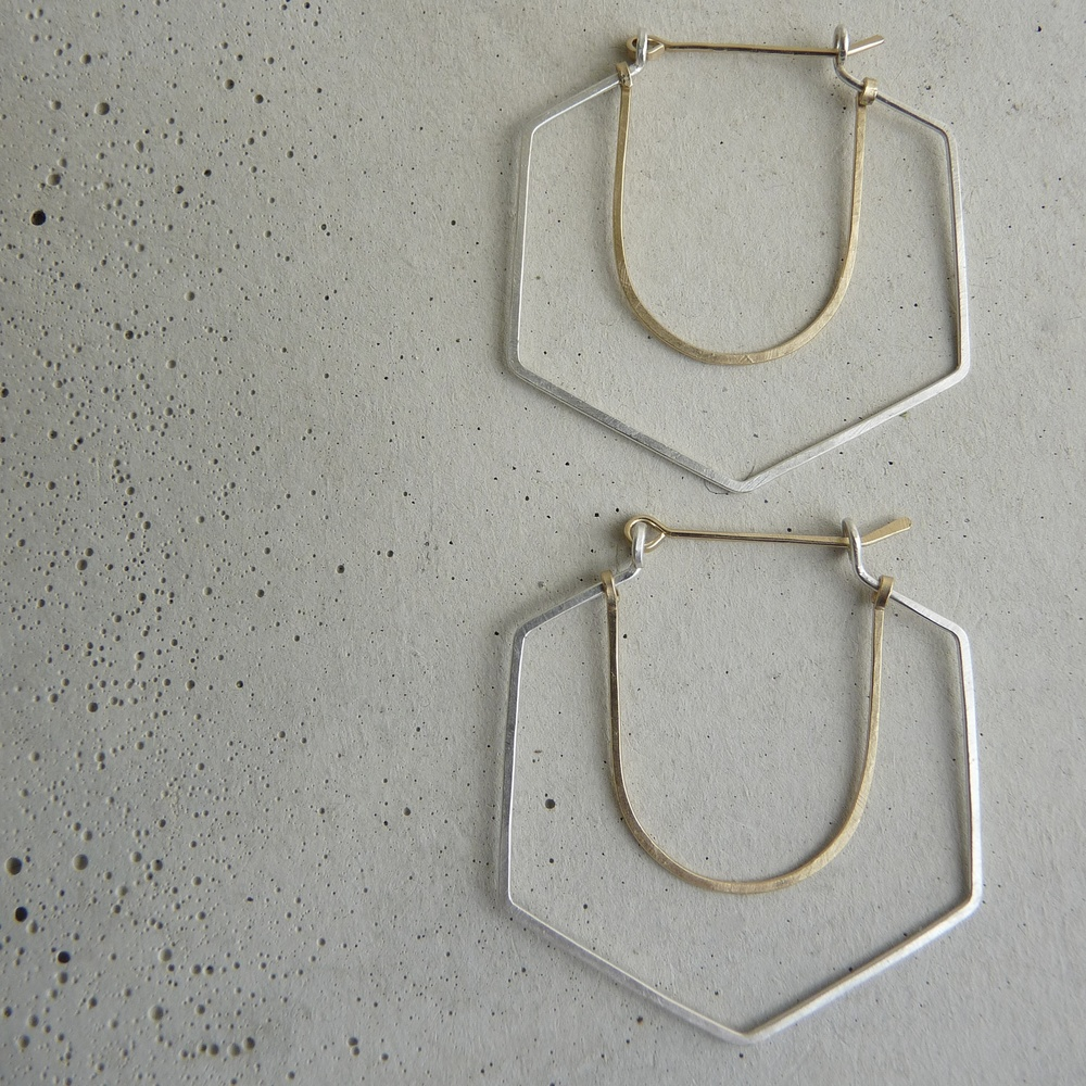 RAVINE hoop earrings, silver and gold geometric hoops, hammered silver hoop earrings, new refined basics