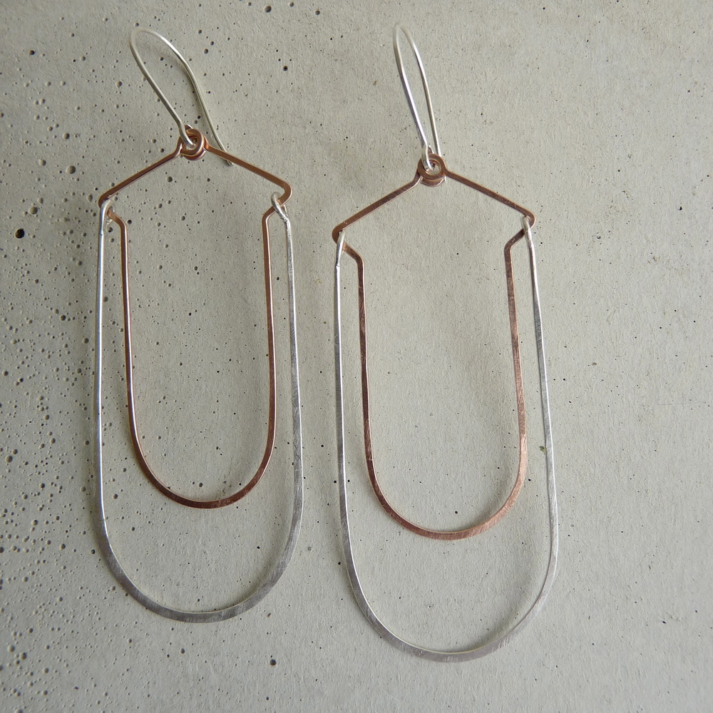 FJORD earrings, bridal jewelry, minimal long earrings, drop arch earrings, mixed metal, new refined basics