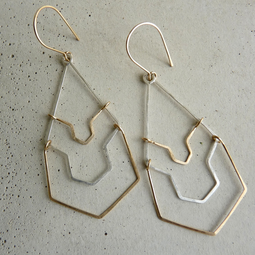 KARST earrings, long geometric earrings, bridal earrings, bridesmaid earrings, wedding jewelry, gold and silver long earrings, new refined basics, 2014 shifting seasons