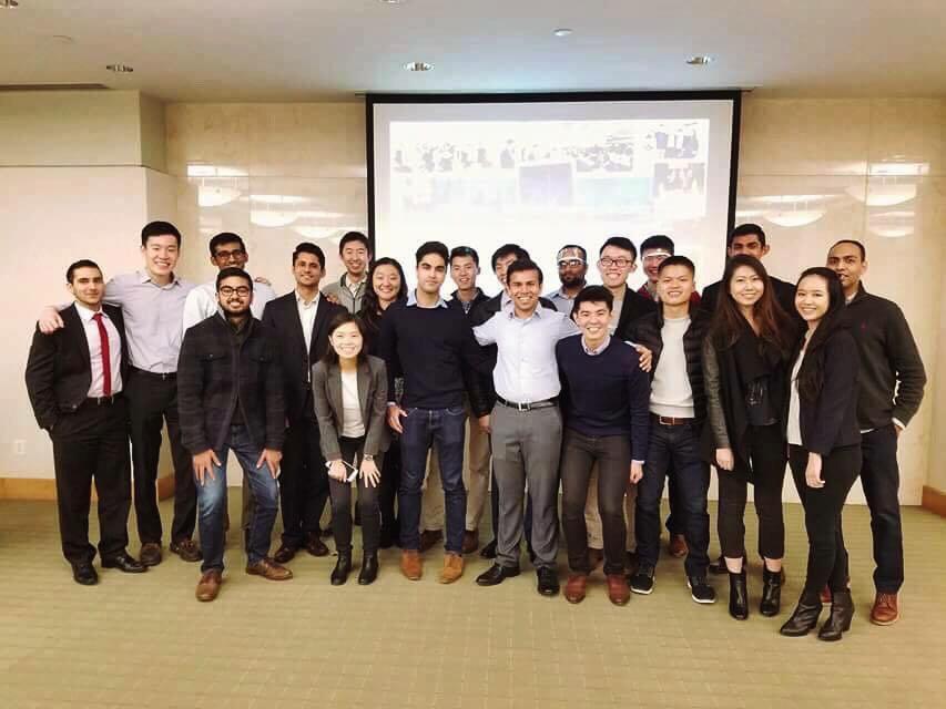 Back row, left to right: Sparsh Dhurka ('16), Wei Ming Wong ('16), Yashwant Chunduru ('15), Sameen Singh ('12), Siwen Wu ('11), Patrick Wei ('18), Evan Wang ('17), Kunal Agrawal ('15), Brendan Wu ('18), Bill Shen ('19), Ankit Patel ('19), Neil Bhuta ('18)  Front row, left to right: Rushi Patel ('17), Jacqueline Huang ('19), Jessica Ma ('18), Rishi Ganguli ('18), Aditya Garg ('18), Ryan Lee ('17), Will Zhou ('17), Angela Li ('17), Amanda Lin ('17)