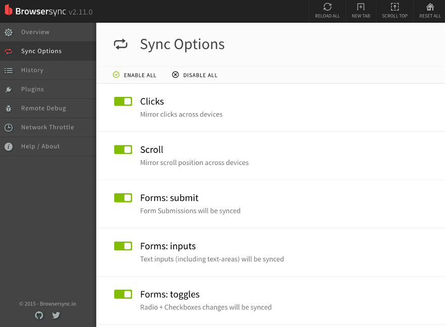 "The ""Sync Options"" tab in Browsersync dashboard"