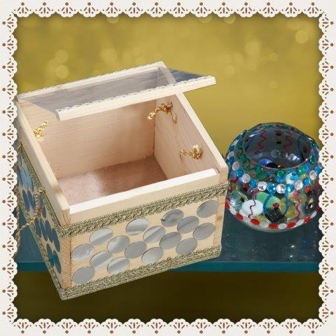 Wooden box 300_hand decorated candle stand 150.JPG