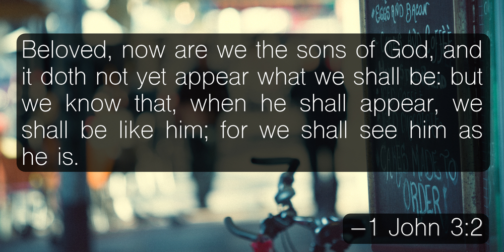 Beloved, now are we the sons of God, and it doth not yet appear what we shall be: but we know that, when he shall appear, we shall be like him; for we shall see him as he is. –1 John 3:2