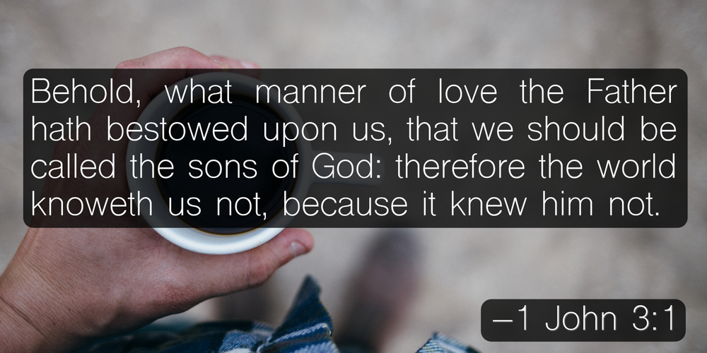 Behold, what manner of love the Father hath bestowed upon us, that we should be called the sons of God: therefore the world knoweth us not, because it knew him not. –1 John 3:1