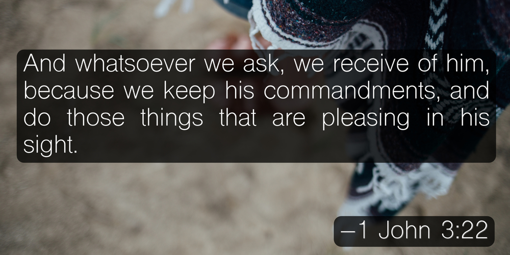 And whatsoever we ask, we receive of him, because we keep his commandments, and do those things that are pleasing in his sight. -1 John 3:22