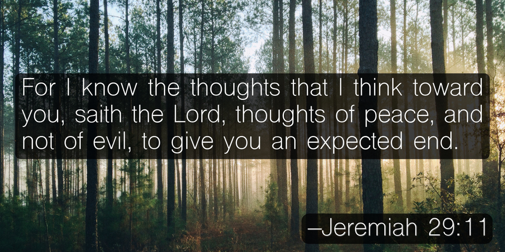 For I know the thoughts that I think toward you, saith the Lord, thoughts of peace, and not of evil, to give you an expected end. –Jeremiah 29:11