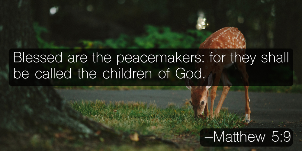 Blessed are the peacemakers: for they shall be called the children of God. –Matthew 5:9